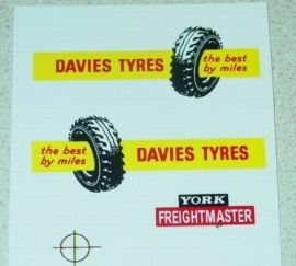 Matchbox Davies Tyres Semi Truck Sticker Set