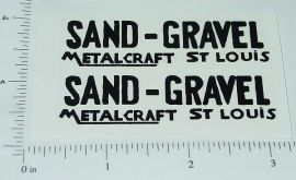 Metalcraft Sand and Gravel Dump Truck Stickers