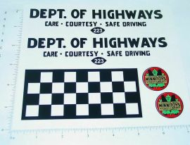 Otaco Minnitoys Dept. of Highways Truck Stickers