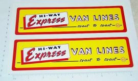 Marx Hiway Express Van Lines Panel Stickers