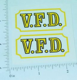 Marx VFD Fire Department Truck Stickers