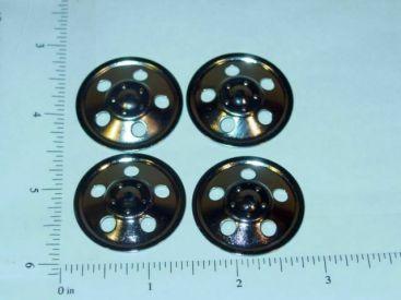 Set of 4 Zinc Plated Tonka Round Hole Hubcap Toy Parts Main Image