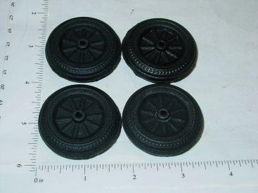 Set of 4 Wyandotte Black Rubber Simulated Spoke Wheel/Tire Toy Parts Main Image