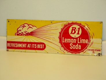 Vintage Original B-1 Lemon Lime Soda, Tin Sign, Pop Advertising Main Image