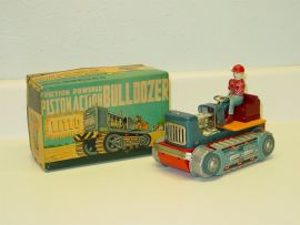 Vintage Showa Piston Action Bulldozer, Orig Box, Friction Operated Toy Vehicle