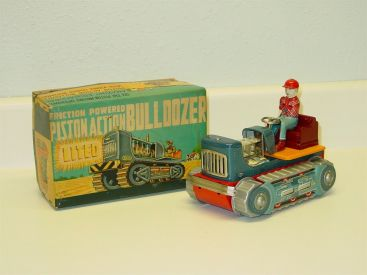 Vintage Showa Piston Action Bulldozer, Orig Box, Friction Operated Toy Vehicle Main Image