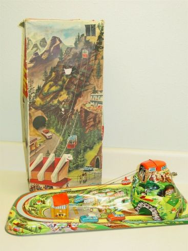 1960s Technofix Cable Car Wind Up Tin Toy w/Orig Box & Cars Western Germany #303 Main Image