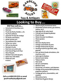 Gasoline Alley - Looking to buy Old Toys & Antiques