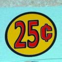 Three (3) Generic 25 Cent Circle Vend Stickers Main Image