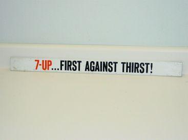 Vintage Advertising 7 Up Door Pusher, Rack Sign, Pop Soda, Original Main Image