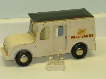 Vintage Buddy L Milk Truck, Delivery + Bottles, Wooden War Era, Victory Toys Main Image