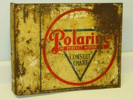Vintage Polarine The Perfect Motor Oil Flange Sign, Consult Chart, Original