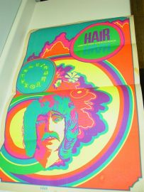 Original HAIR America's Tribal Love-Rock Musical Poster Psychedelic Black Light