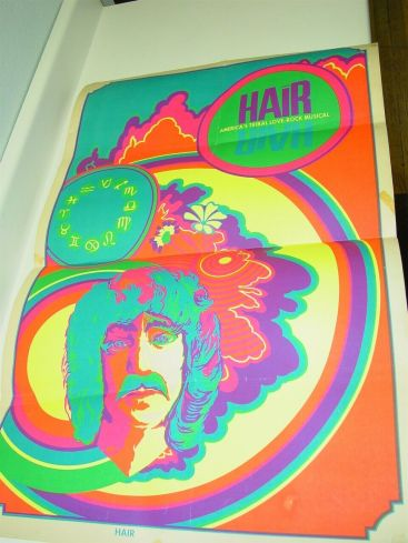 Original HAIR America's Tribal Love-Rock Musical Poster Psychedelic Black Light Main Image
