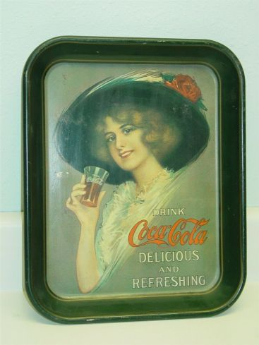 Vintage Metal Advertising Drink Coca Cola Tray, Soda Pop, Coke, Girl, Large Hat Main Image