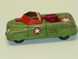 Vintage Walt Reach Courtland Tin U.S. Army Friction Truck, Tank
