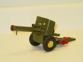 Vintage Japan Tin Lever Action Military Field Gun w/Bullets, Toy Vehicle, Works!