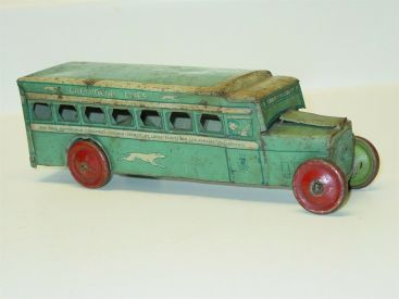 Vintage J. Chein Tin Litho Greyhound Lines Bus, Toy Vehicle, No. 270, U.S.A. Main Image