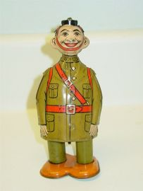 Vintage Tin Litho J. Chein Dough Boy, Wind Up Toy, Military Toy, Works