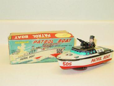 Vintage Tin Litho KO Japan Harbour Patrol Boat, Friction Toy Original Box, Works Main Image