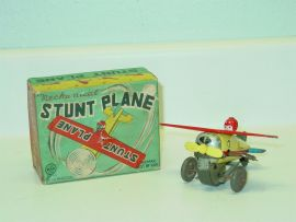 Tin Litho Line Mar Japan Mechanical Stunt Plane Wind Up Toy, Original Box, Works