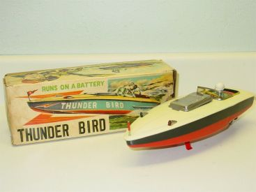 Vintage Marusan Japan Tin Thunder Bird Speedboat + Box, Battery Op Toy Vehicle Main Image