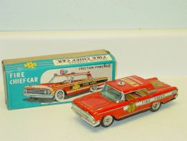 Vintage Tin Litho Taiyo Fire Chief Car w/Box, Friction Toy Vehicle, Works