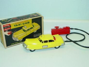 Vintage Andy Gard Taxi Cab + Box, No. 17-20, Battery Powered Toy Vehicle Main Image