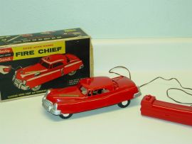 Vintage Andy Gard Fire Chief Car + Box, No. 16, Battery Powered Toy Vehicle