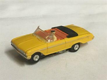 Vintage Aurora T-Jet Mustard Yellow Ford Galaxie Convertible Slot Car Main Image
