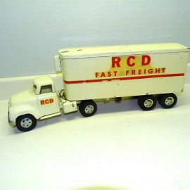 Vintage Tonka R C D Fast Freight Semi Truck Trailer Pressed Steel Toy, 1954