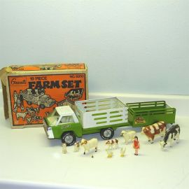 Vintage Nylint Grants 19 Piece Farm Set No 6850 in Box Pressed Steel Toy Vehicle