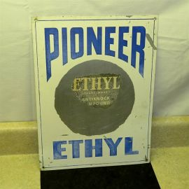 Vintage Pioneer Ethyl Gasoline Sign, Metal Pump Plate