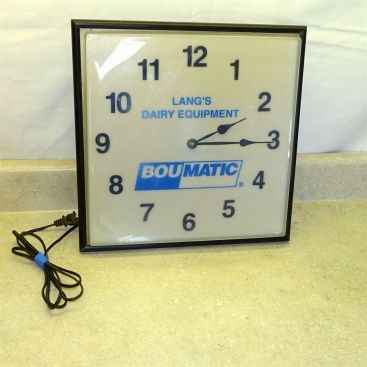Vintage Lang's Dairy Equipment Boumatic, Lighted Wall Clock, Working Main Image