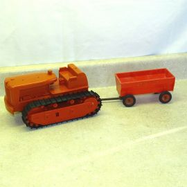 Vintage Plastic Product Miniature Co. IH Dozer, Trailer, McCormick, Toy Vehicle