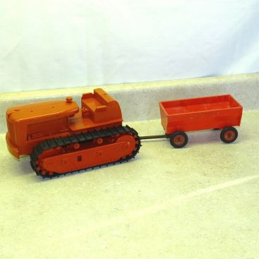 Vintage Plastic Product Miniature Co. IH Dozer, Trailer, McCormick, Toy Vehicle Main Image