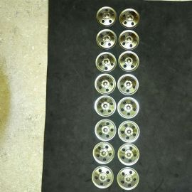 Set of 16 Zinc Plated Tonka Round Hole Hubcaps Toy Parts, Semi Trucks