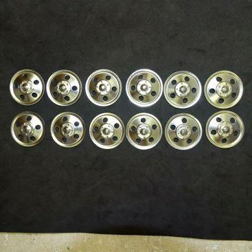 Set of 12 Zinc Plated Tonka Round Hole Hubcaps Toy Parts, Semi Trucks Main Image
