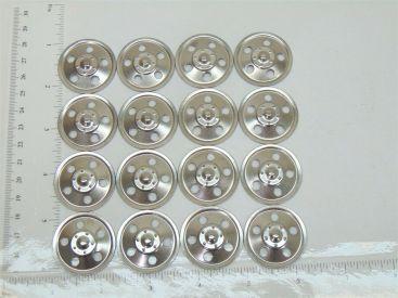 Set of 16 Zinc Plated Tonka Round Hole Hubcaps Toy Parts, Semi Trucks Main Image