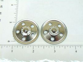 Set of 2 Zinc Plated Tonka Round Hole Hubcap Toy Part