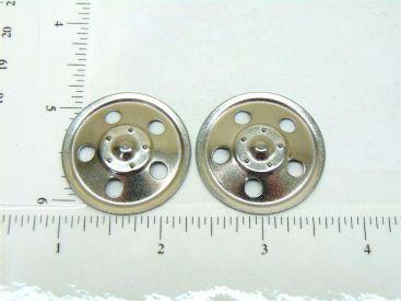 Set of 2 Zinc Plated Tonka Round Hole Hubcap Toy Part Main Image