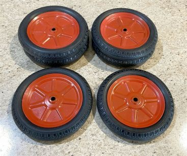 """Lot 6 Large Reproduction Buddy L Wheels/Tires 5"""" Diameter Steel/Rubber Main Image"""