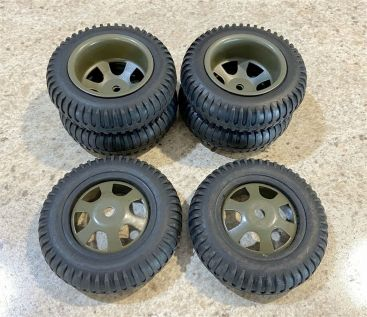 """Lot 6 Reproduction Custom Military Style Wheels/Tires 3.5"""" Diameter Steel/Rubber Main Image"""