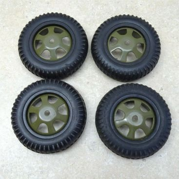 "Lot 4 Reproduction Custom Military Style Wheel/Tire 3.5"" Diameter Steel/Rubber 4 Main Image"